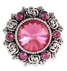 Pink Rhinestone Rose 20mm Snap Charm For Ginger Snaps Interchangeable Jewelry #Handmade #Interchangeable