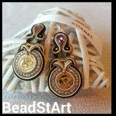 Soutache Ohrringe mit Authentischen vergoldene Knöpfe von BeadStArt