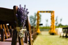 Lavender Isle Decor.  Simple but elegant for an outdoor wedding.  This wedding was actually located IN a lavender field.