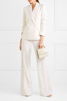 Stella McCartney - Double-breasted Wool-twill Blazer - Ivory - IT44