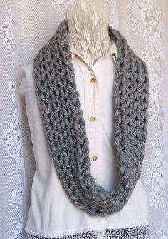my #etsy shop: Knit Infinity Scarf - chunky cowl - gray, grey circle scarf - Winter Fashion Accessories, gift for her Sandy Coastal Designs - ready to ship http://etsy.me/2C8XyTX #accessories #scarf #gray #birthday #christmas #sandycoastaldesigns #womensaccessories #re