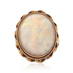 Ross-Simons - C. 1960 Vintage Opal Ring in 18kt Yellow Gold.