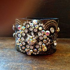 Extravagant Leather Cuff Boho Bracelet adorned with by glitterpooh