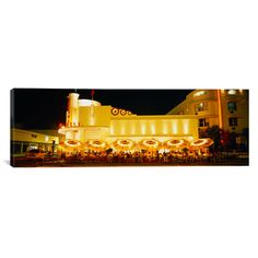 """East Urban Home Panoramic Restaurant Lit up at Night, Miami, Florida Photographic Print on Canvas Size: 24"""" H x 72"""" W x 1.5"""" D"""
