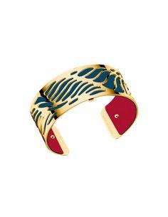 Bracelet Wave, finition or - bleu pétrole / framboise