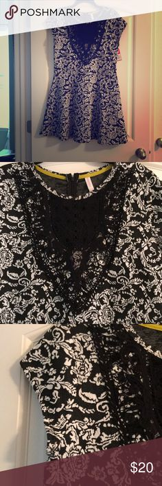 Black and white dress. New with tags. Black lace at the top, cotton, stretchable material Dresses Mini
