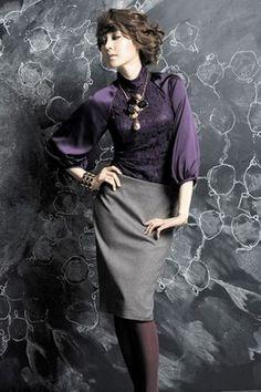 VIKI Dark Purple Blouse with Grey Skirt
