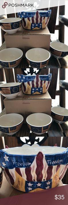 I just added this listing on Poshmark: 5-pc Americana Ceramic Bowl Set. #shopmycloset #poshmark #fashion #shopping #style #forsale #Jay Import Company #Other
