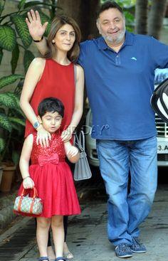 Rishi Kapoor with daughter Riddhima Kapoor Sahni and granddaughter Samara at Shashi Kapoor's Christmas lunch. #Bollywood #Fashion #Style #Handsome #Beauty