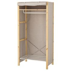 IVAR, Shelving unit with clothes rail, cm. Now in the IVAR storage system there is also a clothes rail, wire shelf and cover. Perfect if you want to create a simple wardrobe. Kallax Shelving, Metal Shelving Units, Wire Shelving, Curtain Rod Holders, Curtain Rods, Clothes Rail Ikea, Ivar Regal, Painted Curtains, Malm Bed