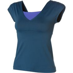 Patagonia Morning Glory Top. The Patagonia Women's Morning Glory Short-Sleeve Top is cut longer so it won't slip up over your waist while you're working out your downward dog, and it has built-in support so you don't have to dig that stinky workout bra out of your dirty-laundry pile. #Yoga #pilates #fitness