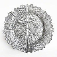 "Reef Silver 13.5"" Glass Charger Plate"