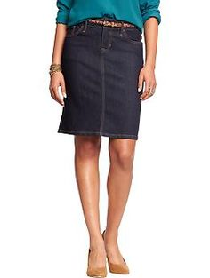 """Womens Denim Pencil Skirts, 77/21/2%, cotton/poly/spandex.  Length not given may run small. 1 reviewer states not as photo, has 6"""" slit ( vent) in back rinse & black"""