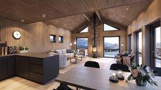 hytte interiør sjø - Google-søk Real Estate, Living Room, Kitchen, Table, Furniture, Home Decor, House Interiors, Cottages, Houses