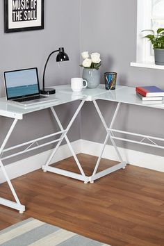 White Glass L-Shape Desk by Target Marketing Systems on @HauteLook