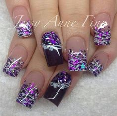 Purple nail art design my type of nails :) Dark Purple Nails, Purple Nail Art, Purple Nail Designs, Winter Nail Designs, Beautiful Nail Designs, Beautiful Nail Art, Acrylic Nail Designs, Nail Art Designs, Acrylic Nails