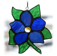 Clematis Suncatcher Stained Glass Flower Blue £12.00