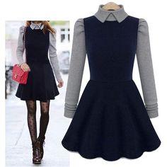Long-Sleeve Mock Two Piece Dress ($26) ❤ liked on Polyvore featuring dresses, 2 piece dress, longsleeve dress, 2 pc dress, mock dress and long sleeve dress
