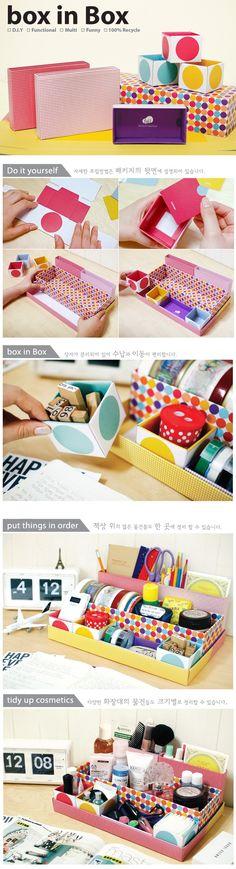 Unterschiedlich hohe Schachteln basteln, bekleben und in einen Schuhkarton-Deckel setzen. Idee zur Organisation vom Schreibtisch oder von Beauty Produkten und Kosmetika.