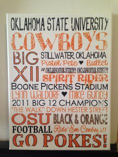 Subway Art - Oklahoma State Cowboys Football 'Rustic' Looking Canvas. Home Decor Sign. Man Cave. by CreationsbyCLM on Etsy.