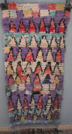 Vintage Moroccan Boucherouite Rag Rug Contemporary Design 180 X 88cm Ebay