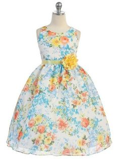 Blue Chiffon Floral Print Flower Girl Dress (Available in Sizes Infant-12 in 2 Colors)