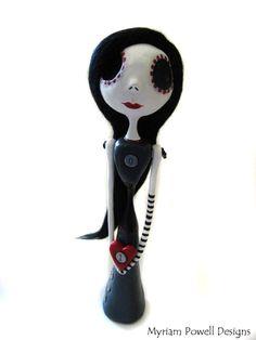 Valentines Art Doll Spooky Valentines by MyriamPowellDesigns Valentine Images, Valentines Art, Ooak Dolls, Art Dolls, Emo Art, Alice In Wonderland Wedding, Dark Love, Metal Skull, Happy Hearts Day