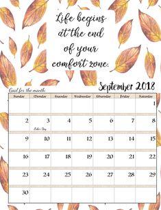 Free Printable 2018 Monthly Motivational Calendars Organizacion