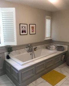 Bathroom shutters recently installed in Co. We used a louver and a centre tilt for this shutter look. Pure White, Corner Bathtub, Shutters, Double Vanity, Centre, Panelling, Bathroom, Tilt, Instagram