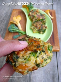 Cheesy Baked Broccoli Mushroom Fritters ~ Sumptuous Spoonfuls