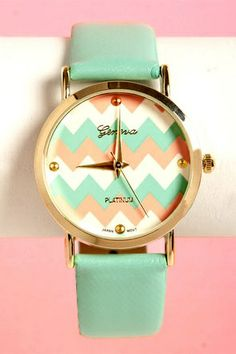 SO CUTE!!! Mint, Coral, and Gold Chevron Watch
