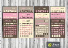 Printable Circle Wall Calendar 2015 - Pink, Yellow, Earth Tones