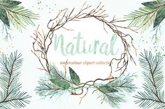 Natural winter. Watercolor clipart. by LABFcreations on @creativemarket
