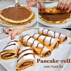 Pancake Roll, Waffles, Pancakes, Dolce, Crepes, Biscotti, Nutella, Cheesecake, Muffin