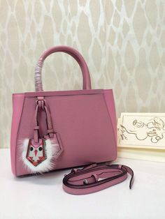 617898a29132 Fendi Black Monster Charm 2Jours Mini Bag Pink