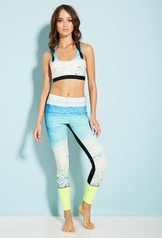 Colorblocked Wave Graphic Leggings | Forever 21 - 2000131517