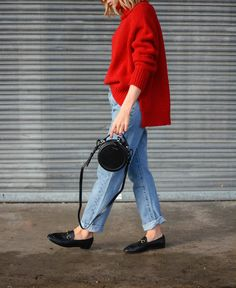 red jumper + cropped jeans + flats