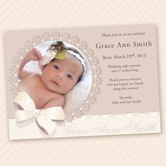Vintage Lace Birth Announcement or Christening Invitation - Printable Custom Design Baby Girl Baptism, Baptism Party, Baby Dedication Invitation, Naming Ceremony Invitation, Christening Invitations Girl, Baby Month Stickers, Expecting Baby, Diy Invitations, Baby Cards