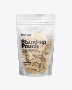 Frosted Stand-Up Pouch W/ Cashew Nuts Mockup. Present your design on this mockup. Simple to change the color of different parts and add your design. Includes special layers and smart objects for your creative works. Chip Packaging, Packaging Snack, Pouch Packaging, Food Packaging Design, Branding Design, Imac Apple, Food Design, Stand Up, Fruit