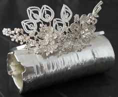 Fabulously over the top!and a bit more sparkle. The use of exquisite vintage style crystal brooch elements together Leaf Structure, Vintage Style, Vintage Fashion, Tarnished Silver, Crystal Brooch, Bridal Headpieces, Vintage Brooches, Bespoke, Sparkle