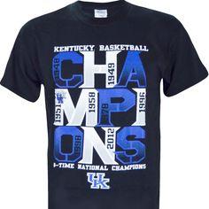 "University of Kentucky: ""UK Basketball 8 Time National Champions"" on Short Sleeve Black"