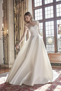 Soft sweetheart neckline with modern cap sleeves and ballgown skirt. Featuring buttons to the end of the cathedral train.  Sareh Nouri | Style: Pride and Joy Wedding Dress Trends, Wedding Gowns, Wedding Bells, Lace Ball Gowns, Gown Photos, Strip, Bridal Fashion Week, Bridal Collection, Bridal Style