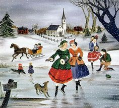 """""""Skating in New England""""  by Martha Cahoon 1905 - 1999.   Cape Cod artist"""