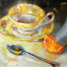 Citrus and Teacup by Linda Smith Oil ~ 8 x 8 Tea Cup Art, Tea Cups, Cafe Art, Fruit Painting, Painting Still Life, Small Paintings, Diy Arts And Crafts, Kitchen Art, Linda Smith