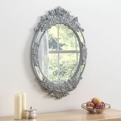 Barcelona Grey and Brushed Silver Oval Wall Mirror - x - CFS Furniture UK Ornate Mirror, Oval Mirror, Round Mirrors, Grey Mirrors, Decorative Mirrors, Framed Mirrors, Cheap Mirrors, Mirrors For Sale, Living Room Mirrors
