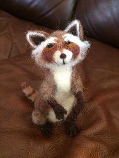 Needle felted Raccoon, handmade by The Beth, 5 1/2 in tall, small animal by artbythebeth on Etsy