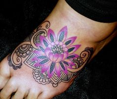 Colored flower with henna design.
