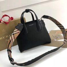 17ab0095f916 Burberry Small Banner Bag in Grainy Leather Black 2018 Wallet Sale