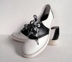 Vintage 1960s Pinwheels black and white saddle shoes. Love them.
