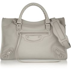 Balenciaga Classic Metallic Edge City textured-leather tote ($1,660) ❤ liked on Polyvore featuring bags, handbags, tote bags, balenciaga, light gray, balenciaga purse, zippered tote bag, zip tote, studded handbags and studded tote